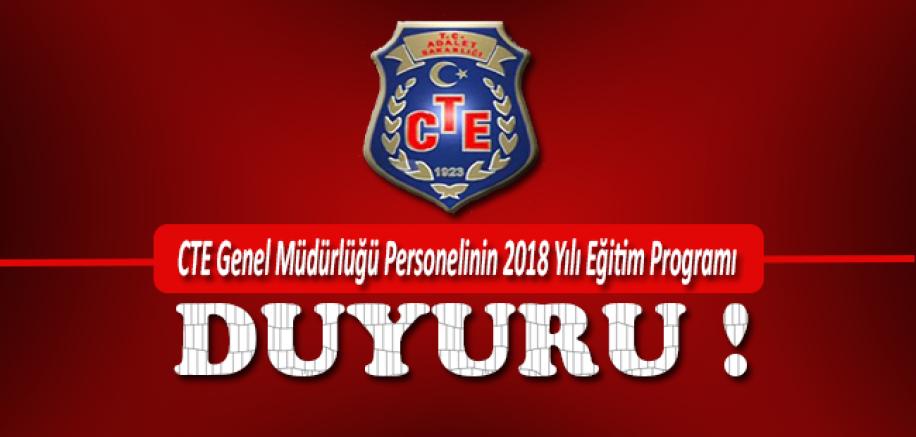 CTE Genel Müdürlüğü Personelinin 2018 Yılı Eğitim Programı
